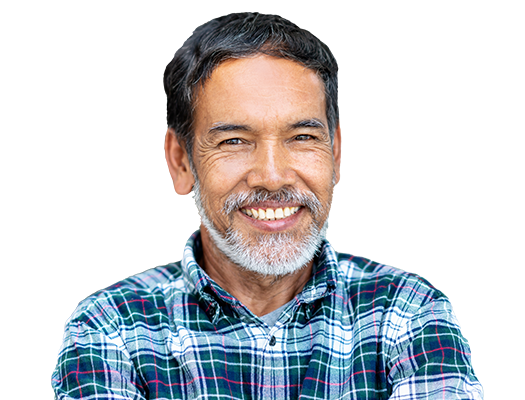 Person in a plaid shirt, smiling