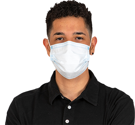 Man in a black shirt wearing a mask